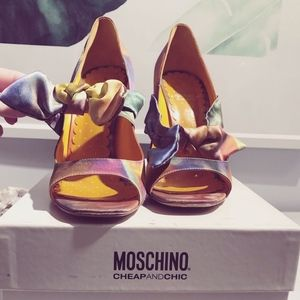 MOSCHINO Floral Bow Wedges - Shoes Heels